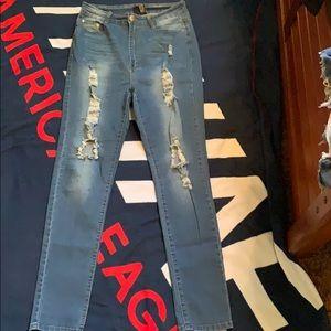 Distressed fashion nova jean